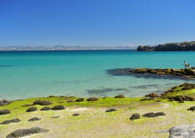 Spanien, Tarifa mit Blick über die 14 km breite Straße von Gibraltar nach Afrika (Marokko)JPG