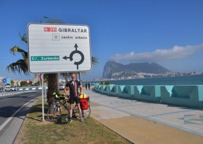 Spanien, die letzten Meter vor dem Grenzübergang von La Linea de la Conception nach Gibraltar (UK)